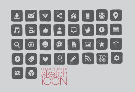 Hand drawn social media icon set - illustrator Vector