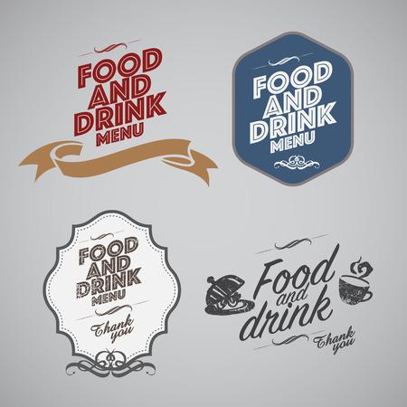 sticker design: Set of vintage retro labels, stamps, ribbons, marks and calligraphic design elements, vector Illustration