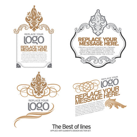 award certificate: Set of layout label,, ribbons, marks and calligraphic design elements, vector