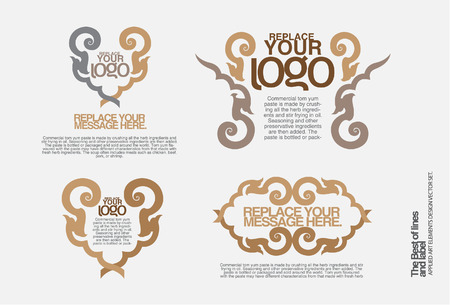 thai decor: Set of ornate vector frames and ornaments with sample text. Perfect for classical invitation or announcement cards.