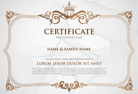 diploma: Certificado de plantilla de diseño.