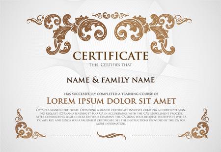 degree: Certificate Design Template. Illustration