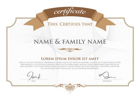 certificado: Ilustraci�n vectorial de oro certificado detallado. Vectores