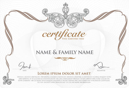 certificate border: gold certificate template with additional design elements Illustration