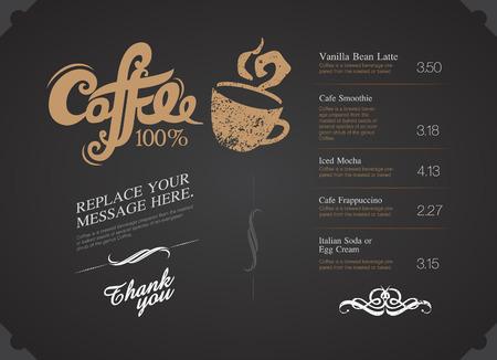 old style lettering: Breakfast cafe Menu Design typography on chalk board vector illustration Illustration
