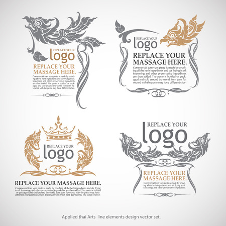thai style: Vector set of thai art flames for design. Calligraphic vector Illustration