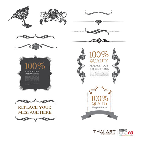 vector set: calligraphic design elements and page decoration - lots of useful elements to embellish your layout, thai art 向量圖像