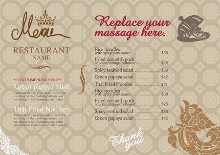 レストラン メニュー デザインし、タイ芸術をミックスします。