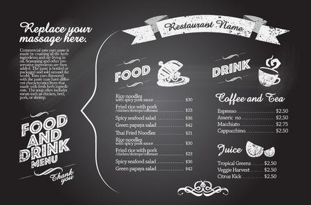 carta de postres: Dise�o del men� del restaurante de Alimentos con el fondo de la pizarra Vectores