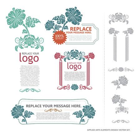 applied: Applied Arts Elements Vector. Lay Out Design Vintage. set flame vector & elements original design. Illustration