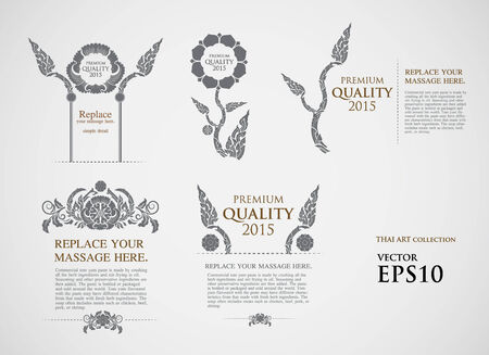 vector line thai art set: calligraphic design elements and page decoration - lots of useful elements to embellish your layout