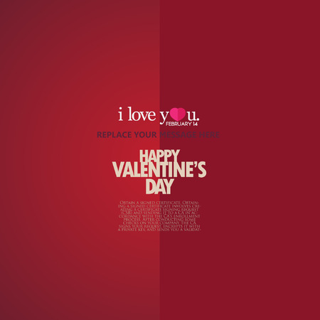 happy couple white background: Red paper heart Valentines day card with sign on ornate background