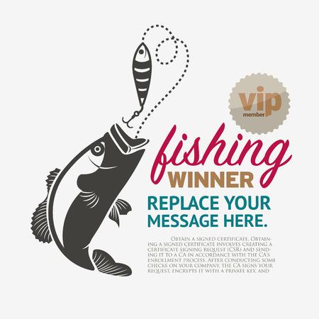 Vector Set: Etichette di pesca d'epoca e francobolli.