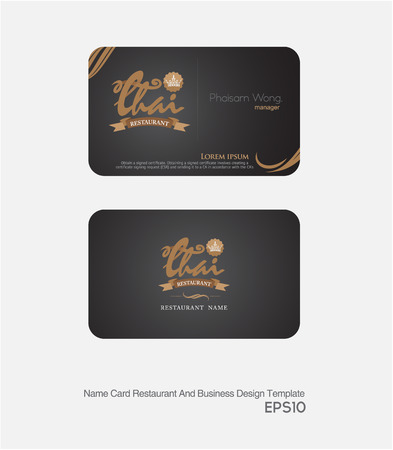 golde: restaurant card and business card layout and template.