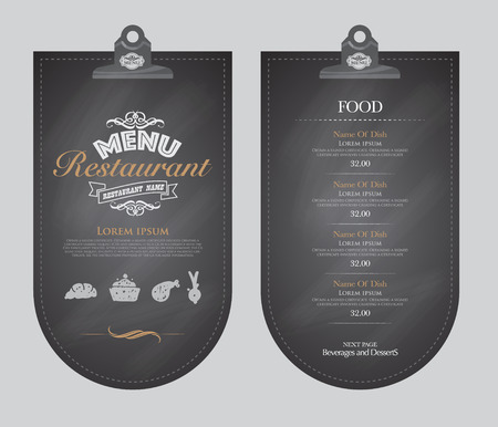Diseño de menú del restaurante.