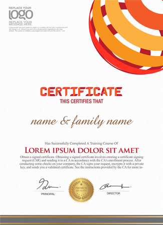 the official: Business and other Certificate template. Illustration