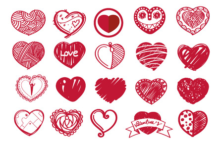 Sketch heart set and valentine's day.