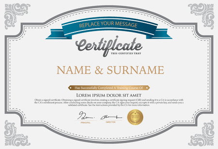 stock certificate: Vector illustration of gold detailed certificate