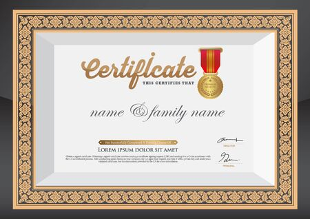 Gold Certificate of Completion Template. Vector