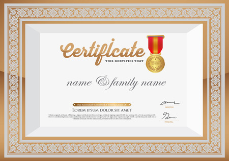 Gold Certificate of Completion Template. thai art element Vector