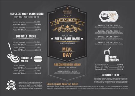 restaurante: Restarante vintage menu projeto da placa de giz Ilustração