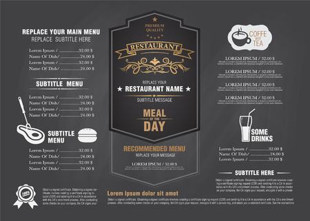 food illustrations: vintage menu restarante chalk board design Illustration