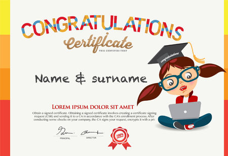 3412 Certificate Sample Vector Illustration And Royalty – Sample Congratulations Certificates
