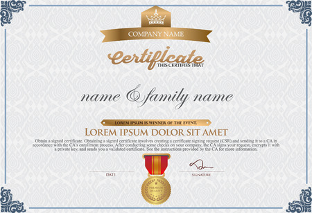 border line: Gold Certificate of Completion Template. thai art element