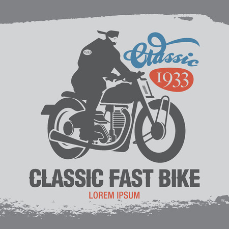 old school bike: Vintage Emblem with Classic Bike. Two Motorcycle Themed Badge Vectors Illustration