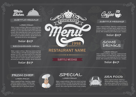 ornament menu: Restaurant Food Menu Design with Chalkboard BackgroundStock Vector Illustration: Illustration