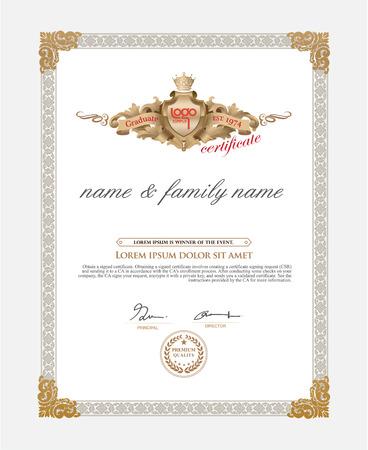 marcos decorativos: Certificado de plantilla de dise�o. Plantilla Retro Vectores