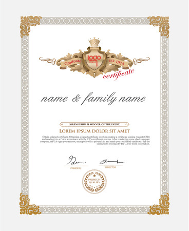 diploma border: Certificate Design Template. Retro template Illustration