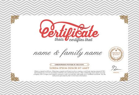 Certificate Design Template. Retro template Vector