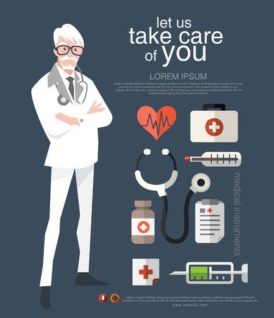 character design: Dise�o Doctor car�cter y diversas aplicaciones La cubierta es un cartel elemento, una divisi�n, folleto, y con ilustraciones.