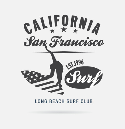 page long: California surf typography, t-shirt graphics, logo club