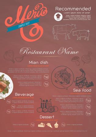 menu and icon design restaurant. Vector
