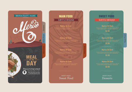 menu and icon design restaurant. Vector