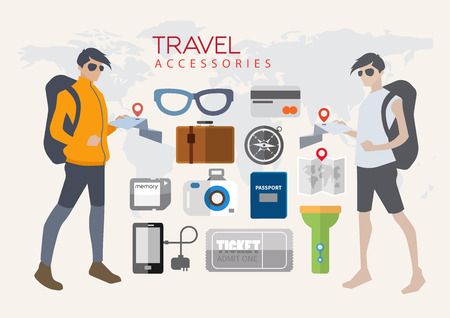 Character Design About Tourism And an icon that s important to be prepared to travel. Vector
