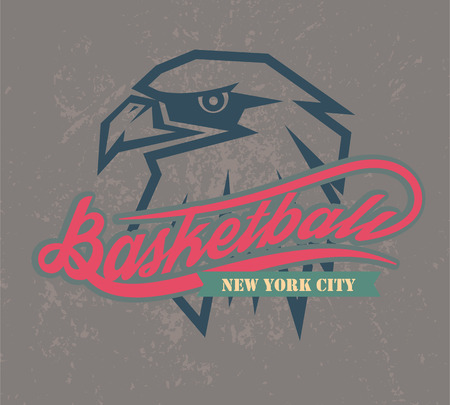 collegiate: new york basketball icon and t-shirt graphics, vectors
