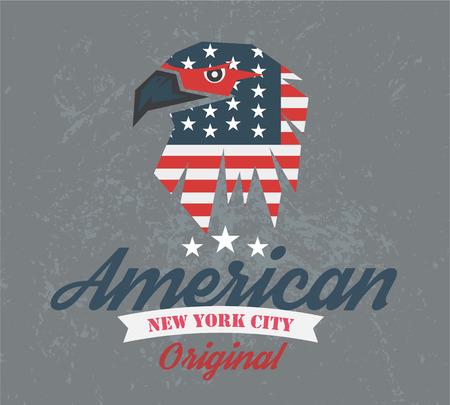 collegiate: american original club, icon and t-shirt graphics, vectors Illustration