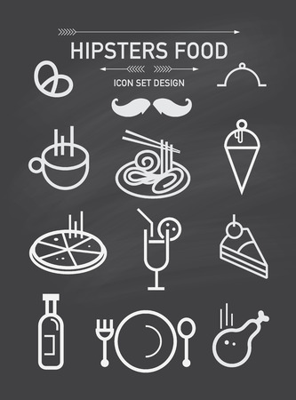 Vector hipsters food icon set and element. Vector
