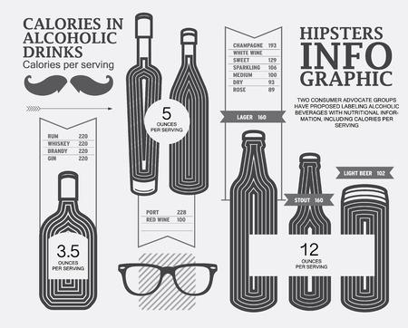 알콜 음료, 벡터 인포 그래픽 칼로리