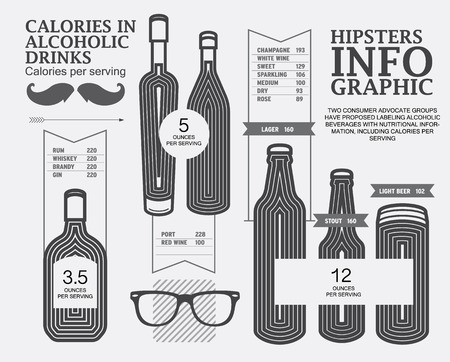 whiskey glass: infographic calories in alcoholic drink, vector Illustration