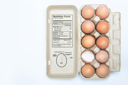 facts: Illustration eggs and the nutrition . Stock Photo
