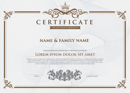 vintage gold frame: Certificate Design Template. Illustration