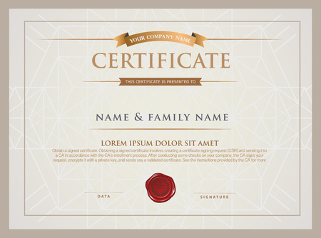 certificate  calligraphy: Certificate Design Template. Illustration