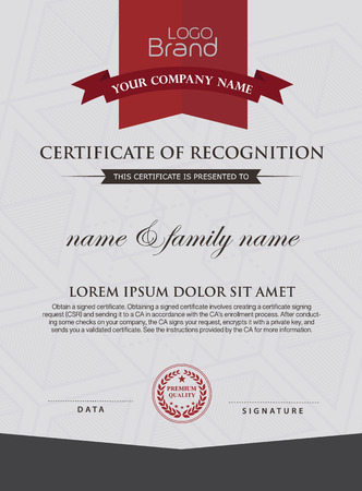 an achievement: Certificate Design Template. Illustration