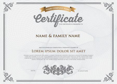 decorative border: Certificate Design Template. Illustration