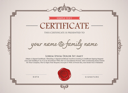 certificate  calligraphy: certificate template. Can be rectangular white superimposed on the original text. And can be printed over to the original.