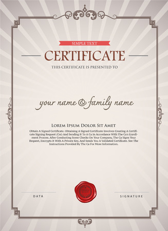 certificate template. certificate template. Can be rectangular white superimposed on the original text. And can be printed over to the original.